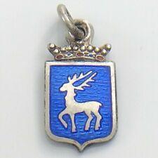 Vintage Enamelled Elk Crest 813 Danish Silver Charm 0.9g 0.5in / 2cm I920