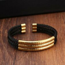 DG Classic Cable Cuff Bracelet Black Silver Gold Stainless Steel Triple Layer