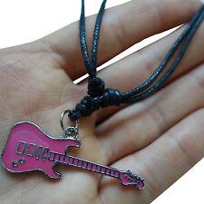 Pink Electric Guitar Pendant Chain Necklace Choker Silver Tone Womens Girls Kids