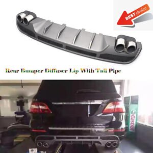 Rear Bumper Diffuser With Tail Pipe Tips For  Benz W166 ML350 ML550 2011-2015