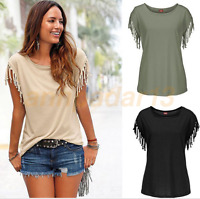 Fashion Women Cuffs Tassel Knotted T-Shirt Casual Loose Round Neck Tops BlouseW