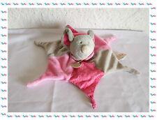 A - Doudou Semi Plat Marionnette Souris Rose Grise Baby Nat