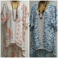 NEW M&Co  Floral Print Kaftan Tunic Long Cardigan Kimono Top Size 8 - 18