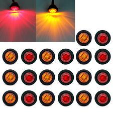 """10X Red +10X Amber Mini 3/4"""" Round Side 3 LED Marker Trailer Truck Bullet Light"""