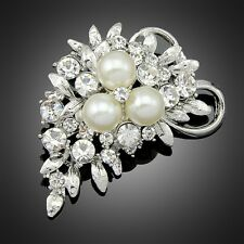 Brooch Bouquet Pin Women Party Bridal Silver Rhinestone Crystal Pearl Brooches