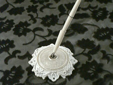 White Eleganza Elegant Lace Wedding Pen and Base Set Epoxy Enamel Reception
