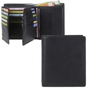 Esquire große Geldbörse mit 25 Kartenfächern RFID Schutz Leder schwarz Herren