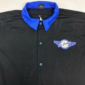 Vintage Air Jordan Basketball Warm Up Shirt Men's XL Black Blue Snap Buttons