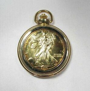 Lady Liberty 2005 Quartz Pocket Watch One Dollar American Silver Eagle GP C3026