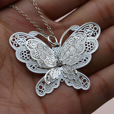 3D Large Butterfly Pendant Lady Silver Chain Necklace Charm Fashion Jewelry