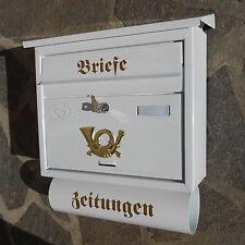 Moderner großer Briefkasten / Postkasten in Weiß + Zeitungsfach Katalogeinwurf P
