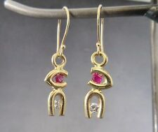 yellow gold 14k diamond and ruby hand made artisan tension set gold earring .20
