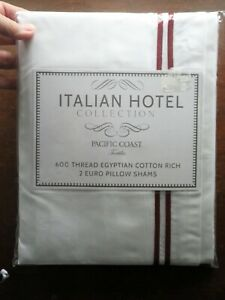 2 Euro Pillow Shams w/ Red Strips, Italian Hotel Collection, 600 Thread Count