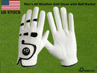 Golf Gloves Men All Weather Grip Leather with Ball Marker Size S M ML L XL US