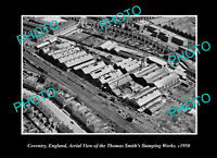 OLD LARGE HISTORIC PHOTO COVENTRY ENGLAND AERIAL VIEW STAMPING WORKS c1950