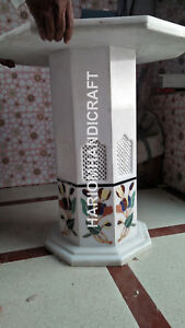 """24""""H 15"""" Dia White Marble Table Top Stand Grill Inlaid Handmade Decor E565(1)"""