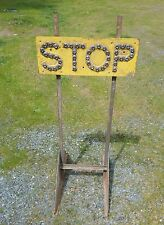Antique Stop Sign on Stand Glass Cat Eye reflectors Oregon 1940s steampunk