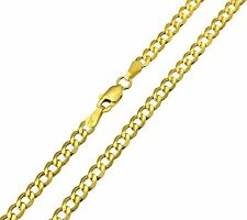14K Real Yellow Gold 3.4mm Concave Curb Cuban Hollow Chain - 22 Inches
