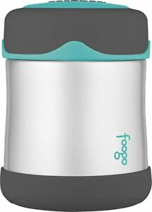Thermos Foogo Food Jar Vacuum Insulated Stainless Steel 10 Ounce Charcoal & Teal