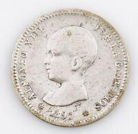 1891 SPAIN 1 PESETA VERY GOOD COIN
