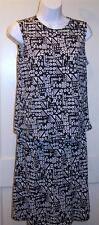 LAURA ASHLEY Skirt Set Sz S Black White Artsy Print Sz Small