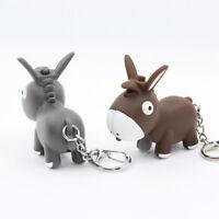 Cartoon Donkey Animal LED Light Key Chain Key Ring with Sound Mini Flashlight