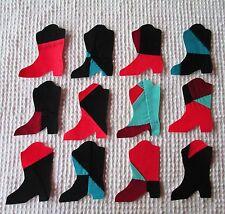 AA58 Iron On Sew On Appliques, Modern Cutter Quilt Blocks, Set 12 Cowboy Boots