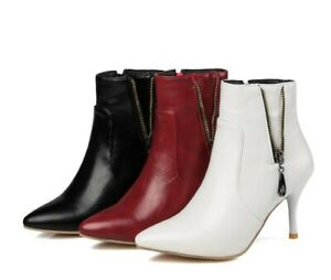 Ladies Party Shoes Synthetic Leather High Heels Zip Up Ankle Boots AU Size b087