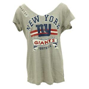 New York Giants Official NFL Juniors Teen Girls Size Distressed Sheer T-Shirt
