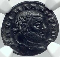 GALERIUS Authentic Ancient Siscia Quarter Follis Roman Coin GENIUS NGC i82223