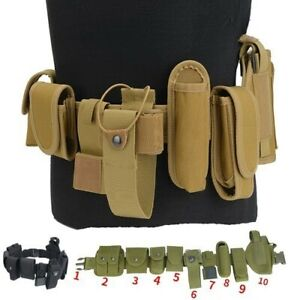 Tactical Belt 1pc Girdle Waistband with 9pcs Attachment Accessories Pouch Holder