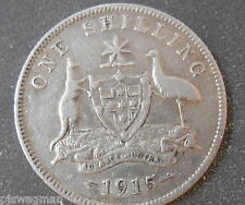 1915 1/- Shilling George V gFine with clear Advance Australia VERY LOW MINTAGE
