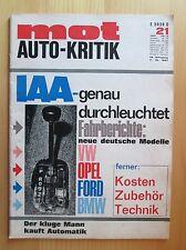 Mot Auto-Kritik Nr. 21/1967, Audi 72, Super 90, Glas 1304 CL und 1700, NSU 1200
