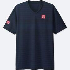 UNIQLO x Kei Nishikori 2017 French Open DRY-EX V-Neck T-Shirt S Navy Stripe NWT!