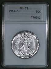 1941-S Walking Liberty Half Dollar 50C ANA Grading Service MS63 - Looks 65