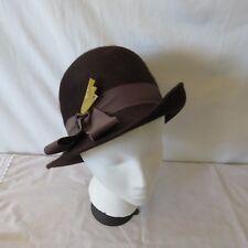 606a2544bdb7af Vintage 1940's Original Brown Fur Felt Ladies Cloche Hat size 6 3/4 small