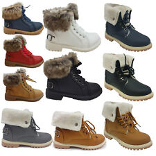 WOMENS LADIES FAUX FUR GRIP SOLE WINTER WARM ANKLE BOOTS TRAINERS SHOES SIZE