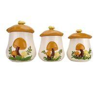 Vintage Arnels Mushroom Cookie Jar Canister Set of 3 1970's