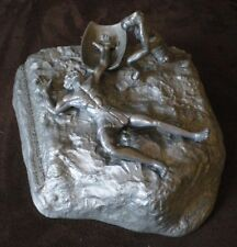 Signed Yaacov Heller David Goliath Pewter Sculpture Ltd Ed. No Weapon Formed
