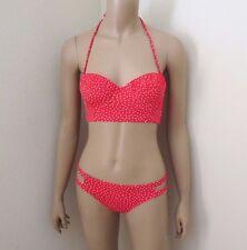 NWT Abercrombie Womens Polka Dot Bikini Size Small Swimsuit Padded Red & White
