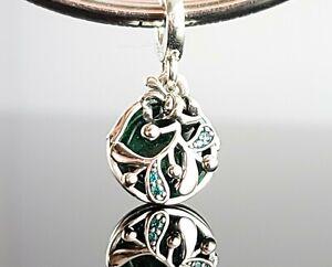 New Authentic Pandora Christmas Mistletoe Dangle Charm Green Silver