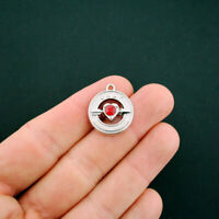 4 July Charms Birthstone Heart Silver Tone with Ruby Red Rhinestone - SC5514