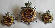 ROYAL CANADIAN ARMY SERVICES CORPS BLUE & RED CAP / COLLAR BADGE - 3 PIECE SET