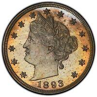 1893 Liberty Nickel PCGS PR65 STUNNING - Rainbow Toning - Undergraded