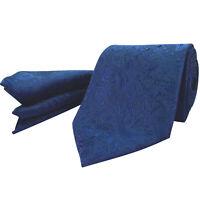 Avantgarde Navy Blue Tie Set PREMIUM Floral Silk Paisley Hanky