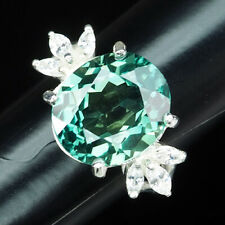 Forest Green Tourmaline Ring Oval 11.50 Ct. Sapphire 925 Sterling Silver Sz 8.25