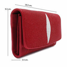 Red Stingray Leather Lady Wallet Wide 9.5 cm. Long 18.5 cm. Thick 3.5 cm.