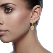 Women 18ct Yellow Gold Filled Jewelry Heart Diamond Dangle Huggie Earrings 064C