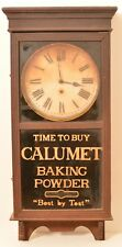 Antique Calumet Baking Powder Sessions Clock Wood Glass Advertising Farmhouse