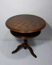 Vintage Round Pedestal 2-Tier Table Game Chess Checker Board Inlay Top Victorian